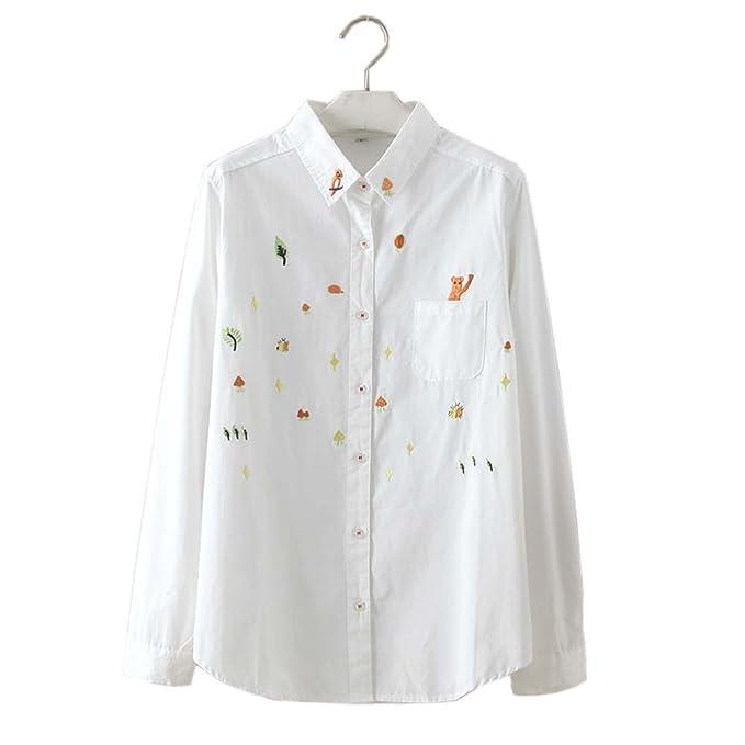 Camisa blanca simple blusa bordada Mujer blusas manga larga blusas, # 01