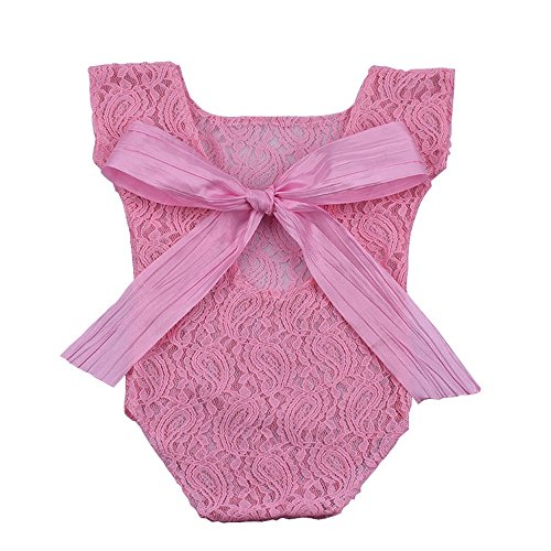 Christmas Picture Outfits (Newborn Baby Photography Props Girl Bodysuit,ISOCUTE Infant Lace Photo Clothes Romper(Pink))