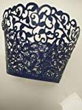 navy blue Little Vine Laser cut Cupcake Wrapper Cup Cake Baking Muffin 60pcs,Standard Size