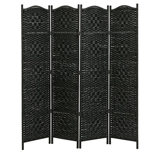 4 Panel Black Wood & Bamboo Woven Room Divider, Decorative Indoor Folding Screens