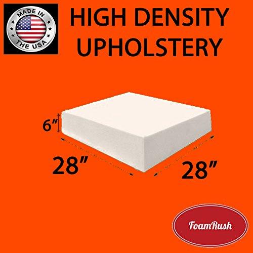 FoamRush 6'' x 28'' x 28'' Upholstery Foam Cushion High Density (Chair Cushion Square Foam for Dinning Chairs, Wheelchair Seat Cushion Replacement) by FoamRush