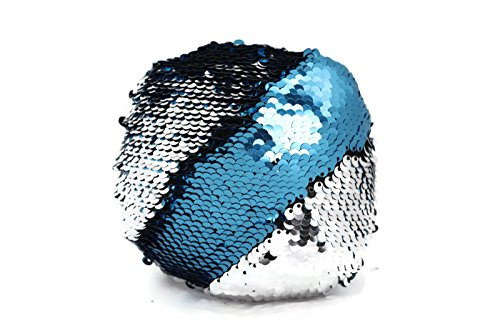 The Original Fidget - Aqua & Silver Circle Sequin Pillow Fidget Toy for Sensory Therapy to Relieve Stress and Increase Focus for Adults and Kids. Helps with ADHD ADD Autism by Little Monkey- 4C Aqua Circle