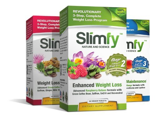 Slimfy Weight Loss Supplements - 3-Stage Complete Weight Loss Program (6 Months Supply) by Slimfy