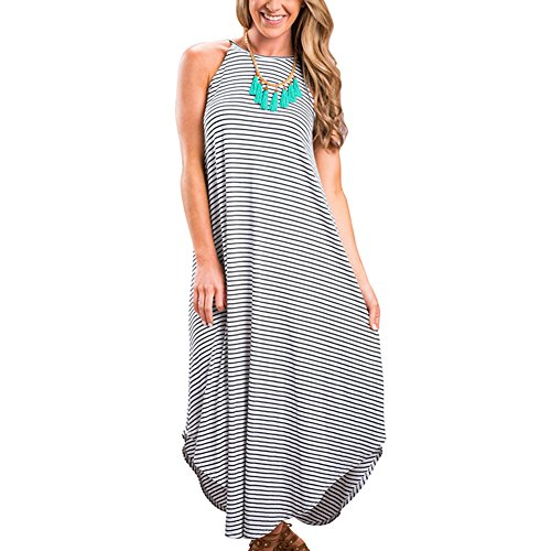 YNYNEW Women's Summer Sleeveless Striped Racerback Loose Maxi Dress (Asia M/US 6-8)