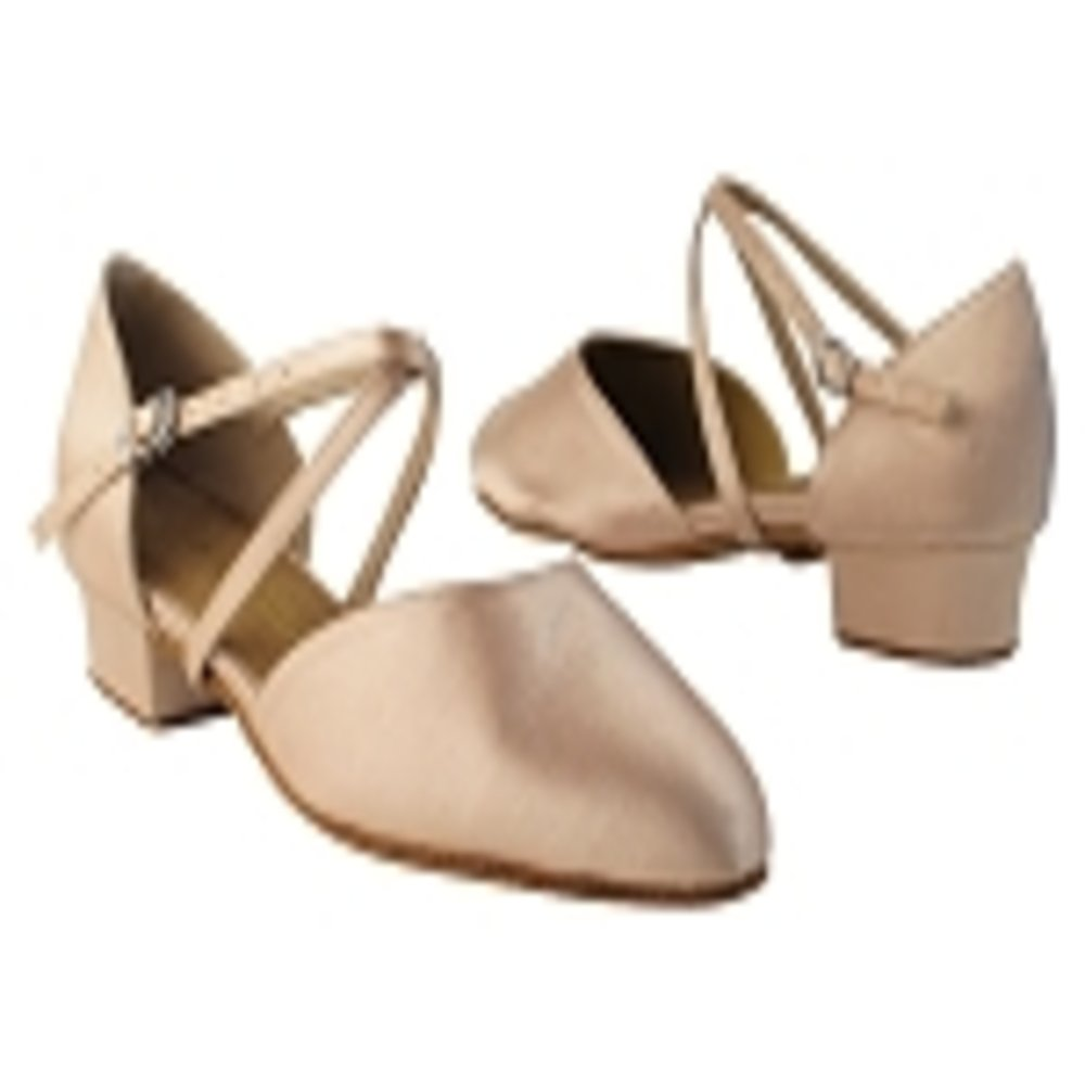 Very Fine Girls Tan Satin Closed Toe Dance Shoe in size 3.5 with 1 inch heel by Very Fine Dance Shoes