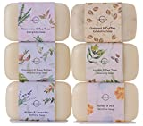 O-Naturals 6 Piece Moisturizing Body Wash Soap Bar Collection 100% Natural & Organic, Infused with Therapeutic Essential Oils, Vegan Soap. 4 oz. each