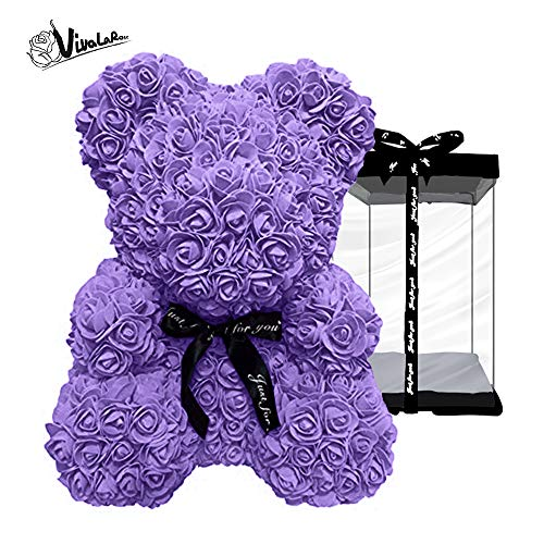 - Rose Teddy Bear with Artificial Rose Bouquet|Best Gift|Holiday, Valentine, Anniversaries, Birthdays, Wedding (Purple, Small, 10'')