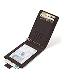 Men's Slim Bifold Leather Front Pocket Wallet RFID Money Clip Credit Card Holder
