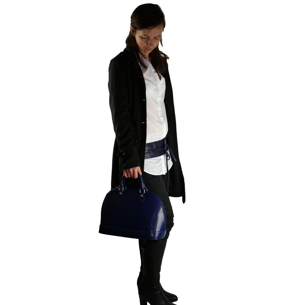 OLIVIA - Ceinture pour femme. large à nouer en cuir de vachette N1776 Bleu  marine - Bleu marine, Cuir  Amazon.fr  Vêtements et accessoires ba08f489763