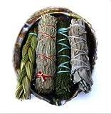 Offerings Smudge Kit includes Large Abalone Shell, Sweetgrass Braid, White Sage, Desert Sage, Cedar Sage Sticks plus Sand