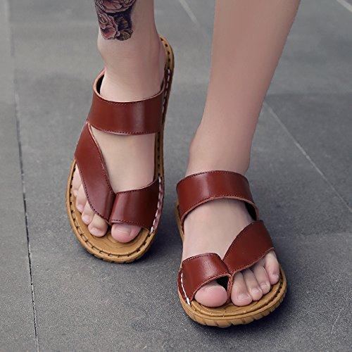 OME&QIUMEI Verano Masculino Calzado De Playa Sandalias Zapatillas Zapatillas Antideslizante 38 Marrón Rojo 38 Marrón rojizo