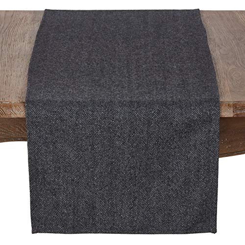 - SARO LIFESTYLE 4218.BK1672B Harry Collection Wool Blend Tweed Table Runner, 16