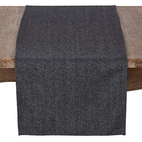 SARO LIFESTYLE 4218.BK1672B Harry Collection Wool Blend Tweed Table Runner, 16