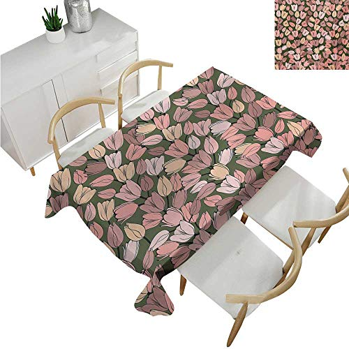 familytaste Flower,Table Cloth Printed,Pattern with Retro Tulips Springtime Garden Park Seasonal Nature Stylized Art,Party Tablecloth Covers 60