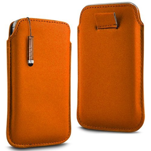 N4U Online - Apple Iphone 4 Prime PU cuir souple Tirez cas de secousse Tab Housse Etui & Mini Stylet - Orange