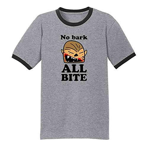No Bark All Bite Werewolf Cartoon Halloween Grey/Black S Ringer T-Shirt]()