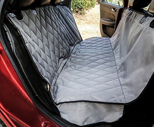 Plush Paws Ultra-Luxury Pet Seat Cover - 2 Bonus Harnesses 2 Seat Belts for Cars Trucks & Suv - Grey, Waterproof, NonSlip Silicone Backing -