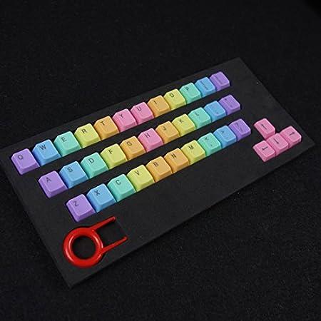 Feicuan 37 Keys Cap Cover Case ABS Colorful Replacement Keycap Universal para Teclado mecánico -Light Color,Top Print