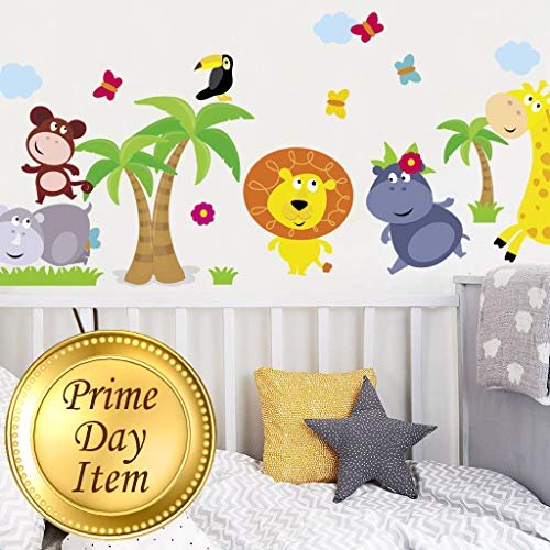 (Animal Safari Jungle Vinyl Wall Decal for Kids Bedroom playroom - Decorative Art Stickers for Baby Girl Boy Wall Decor - Nursery Wall Stickers [24 Art clings] - Wall Decals for Boy - with Gift!)