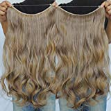 Synthetic fiber moves and feels like real human hair. This is Most affordable price and very easy to apply. No glue, weaving, clips or tape required! The hair is attached to a barely visible wire that is easy to hide with your own hair.Flip In Synthe...