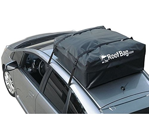 RoofBag Rooftop Cargo Carrier | Waterproof | Made in USA | Fits All Cars: with Side Rails, Cross Bars or No Rack | Includes Heavy Duty Straps |1 Year - Storage Rail Overhead