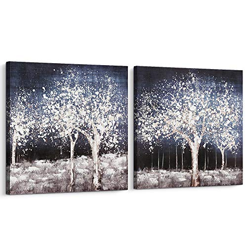 Pi Art Canvas Wall Art Tree of Life, Original Designed Abstract Landscape Painting Hand Painted on Canvas Art Wall Decor for Living Room Bedroom Framed (24x24, Set)