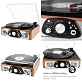 Bluetooth USB Turntable Vintage Record Player Vinyl-to MP3 Build in Speakers