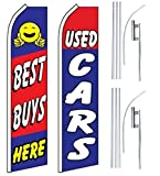 Car Auto Dealer Swooper Flutter Feather Flags & Poles 2 Pack-Best Buys-Used Cars