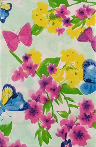 Butterfly Floral Watercolor Vinyl Flannel Back Tablecloth (52