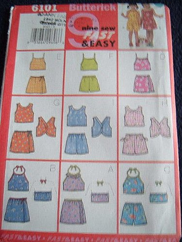 CHILDRENS GIRLS TOP, SKIRT & SHORTS SIZES 2-3-4-5 - 9 SEW FAST & EASY BUTTERICK PATTERN 6101 RATED VERY EASY