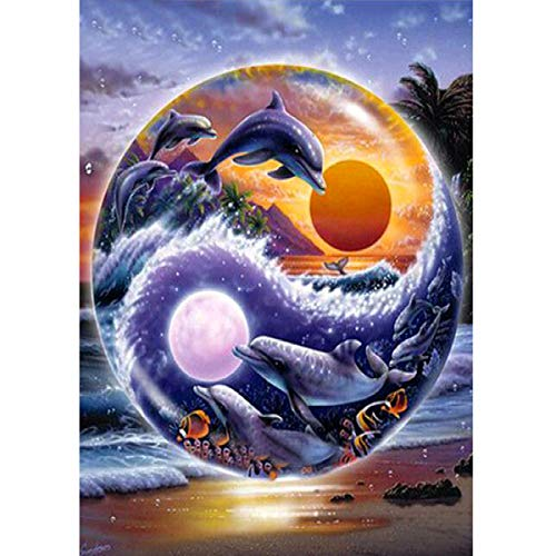 Moon Dolphins (MXJSUA 5D DIY Diamond Painting by Number Kit Fulll Round Dril Beads Crystal Rhinestone Embroidery Cross Stitch Picture Supplies Arts Craft Wall Sticker Decor Sun and Moon Dolphin 12x16In)