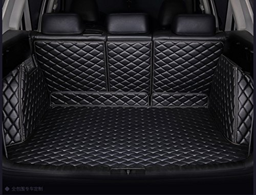 (WillMaxMat Custom Fit Pet Trunk Cargo Liner Floor Mat for 2011-2018 Jeep Grand Cherokee with Subwoofer on the Right Side -Black w/Black Stitching)