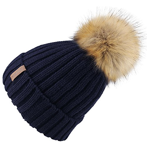 Ski Cap Logo Hat (FURTALK Womens Knitted Winter Pom Beanie Hat Faux Fur Pom Pom Bobble Hat Beanie for Girls,One Size Navy)