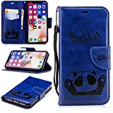 Misteem Cartoon Case iPhone X, Cute Retro Panda Pattern Leather Cases Flip Shockproof Card Holder Bookstyle/Stand / Magnetic Wallet Cover Protector Apple iPhone X - Panda Blue