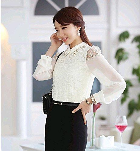 In Camicie Bininbox® Camicetta Da Maniche Elegante Bianco Chiffon Chic Perle Di A Colletto Donna Pizzo Con Business Lunghe xA6qXwAr