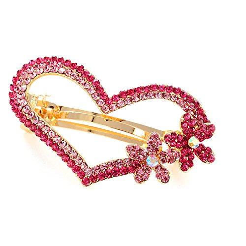 Gold Heart Shaped Slide (So Beauty Women's Charming Peach Heart Shaped Multi Rhinestone Hair Barrette Clip Accessary Pink)