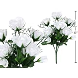 7-stem Small Roses with Baby Breath, Artificial Flower (White)