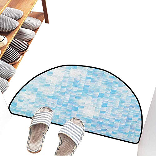Axbkl Interior Door mat Teal Glisten Fish Scale with Gradients and Hotspots Sun Rays Cheerful Artwork Print Easy to Clean W31 xL20 Blue Purple White