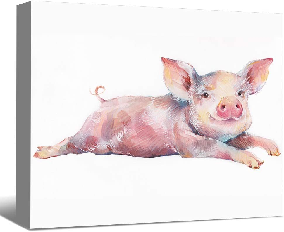"SENEW Animal Canvas Wall Art for Bedroom, Living Room, Office, Little Pink Pig Framed Canvas Art for Home Decor,18"" x 12"""