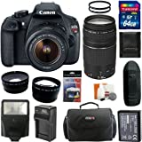 Canon EOS Rebel T5 Digital Camera SLR Kit With Canon EF-S 18-55mm IS II + Canon EF 75-300mm f/4.0-5.6 III Autofocus Lens + 64GB Card and Reader + Wide angle and Telephoto Lenses + Battery + Filters + Accessory Kit