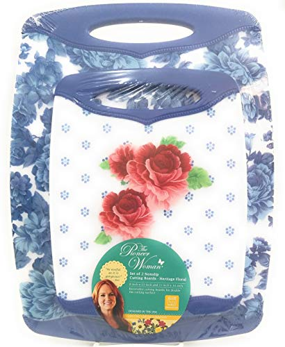 The Pioneer Woman Nonslip Cutting Board, Heritage Floral set of 2 Coordinating Designs, Medium and Large ()