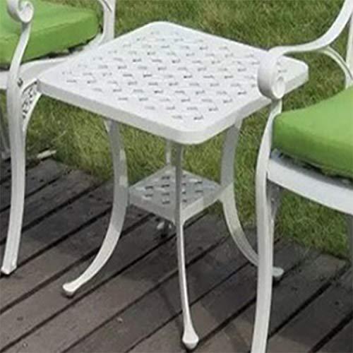 Wakaa Europea Simple Casual Exterior Hierro Fundido Aluminio Exterior Pequena Mesa Redonda Mesa de Centro Mesa de sofa (Bronce) (Color : Blanco)