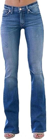 Women's Denim Pants Stretch Mid Waist Slim Straight Leg Ripped Destroyed Denim Jeans Pants
