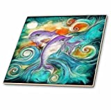 3dRose ct_116230_4 Cute Happy Purple Dolphins Swimming in The Ocean Digital Animal Nature Art Ceramic Tile, 12-Inch