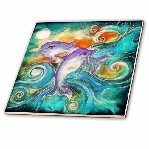 3dRose ct_116230_4 Cute Happy Purple Dolphins Swimming in The Ocean Digital Animal Nature Art Ceramic Tile, 12-Inch by 3dRose