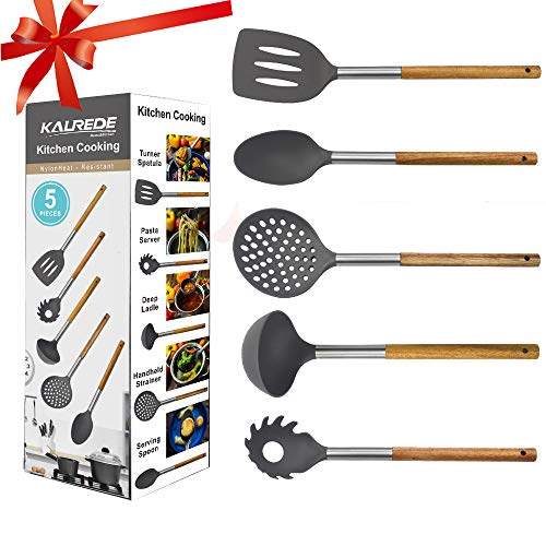 - KALREDE Kitchen Utensils Set 5 Piece - Non Stick Nylon Cooking Utensils Set -Heat Resistant Kitchen Tools Set with Wooden Handle including Spatula, Pasta Server, Deep Ladle, Strainer and Spoon( Gray