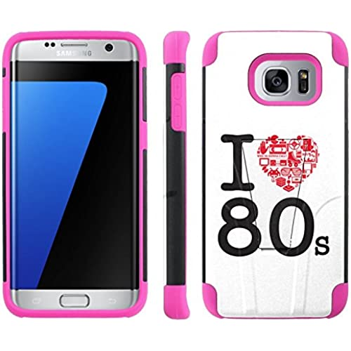 [ArmorXtreme] Case for Samsung Galaxy S7 Edge [Black/ Hot Pink] [Hybrid Armor KickStand Dual Layer Protection Case] - [I Love 80s] Sales