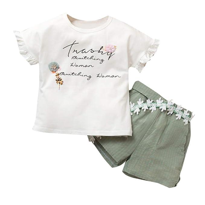 K-youth® Camisetas de Niños Estampado de Flor Carta Manga ...