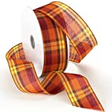 Morex Ribbon Autumn Hayride Plaid Wired Fabric Ribbon, Pumpkin, 2-1/2 In x 50-Yd