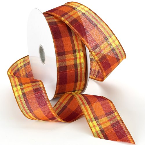 Morex Ribbon Abundance Wired Plaid Fabric Ribbon, 2-1/2-Inch by 50-Yard Spool, Pumpkin